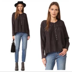 NWT! Free People Live to Tell Silk Blouse